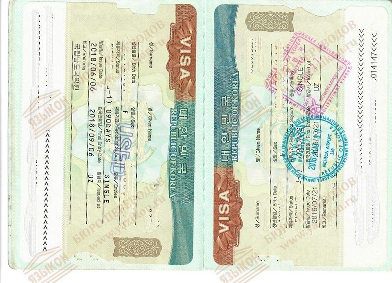 Перевод визы в документе